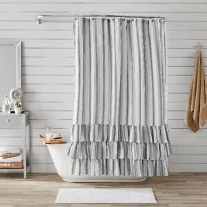 "Shower Curtain by Better Homes & Gardens Striped Ruffle NEW 72"" x 72"" Bath Tub"