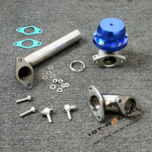 F38 38mm External Wastegate+Stainless Steel Exhaust Dump Tube Elbow Adaptor Blue