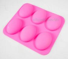 Piedra Oval 6 celdas de silicona molde jabon Baño Guijarro Bandeja-hace que la barra de 95g 10-006