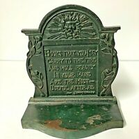 Antique Badley & Hubbard Cast Iron Northwind Poems Bacon Johnsoniana Bookends