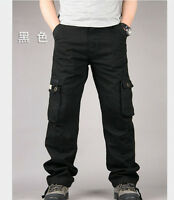 Men's Casual Cotton Blend Loose Straight Cargo Pants Military Trousers Pockets