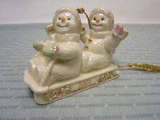 "Holiday Lenox China Ornament 2001 Snowmen on Sled 3-3/4"" long Vgc"