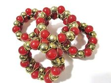 """New listing Lucite Brass """"Beaded"""" Metal Jeweled Faux Carnelian Napkin Rings Set Of Four Red"""
