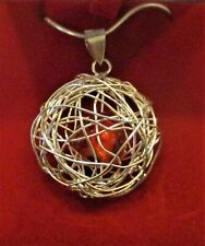 """Sterling Silver Wire Cage Pendant With Red Glass Heart On 16"""" Silver Snake Chain"""