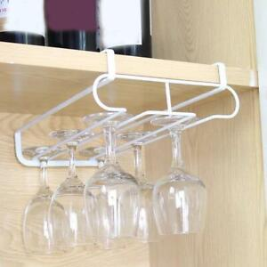 Wine Glass Rack Metal Holder Under Cabinet Stemware Hanger Shelf Barware Holders