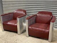 Fabulous Vintage Retro Pair Of Red Aviator Club Chairs