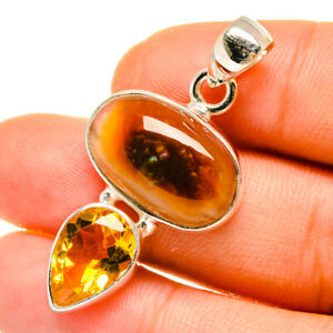 """Mexican Fire Agate, Citrine 925 Sterling Silver Pendant 1 1/2"""" Jewelry P4941F"""