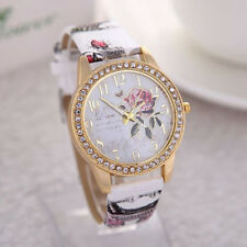 Flower Patterns Geneva Women's Leather Band Analog Quartz Fashion Wrist Watch