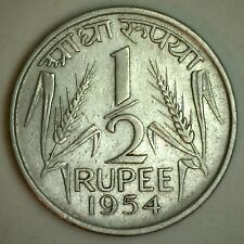 1954 Nickel India-Republic 1/2 Rupee Coin KM# 6.2