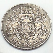 1924 Latvia 1 Lats .835 Silver Republika Latvijas Republic Coin E111