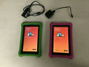 """TWO Fire Kids Edition Tablet, 7"""" Display, 16 GB, 1-Green, 1-Pink Kid Case 5thgen"""