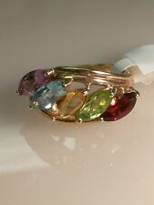 14k Yellow Gold Multi Colored Mothers ring Stones Size 6