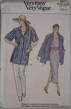 Vogue 9921 Sewing Pattern Misses' Shirt Top Dress Pants Sizes 8 10 12 UC HTF