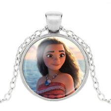 NEW Disney Princess Moana Pendant Glass Charm Necklace Silver Chain Girl Jewelry