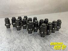 SET OF 16 BLACK M10x1.25 ET EXTENDED THREAD BEVELED TAPERED LUG NUTS