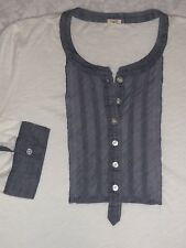 J Crew Womens Tuxedo Henley Shirt Size Med White/Chambray Buttons 3/4 Sleeve EUC