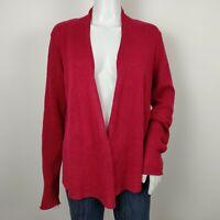 Eileen Fisher Open Front Cardigan Siz XS Raspberry Red Linen Long Sleeve Sweater