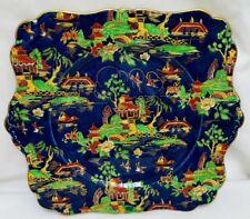 Antique Grimwades Rideau Ware Square Cabinet Plate Henry Birks HP Pagodas Birds
