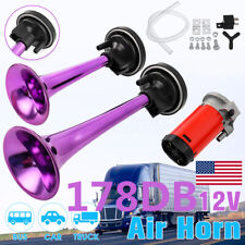 Purple 12V 178dB Super Loud Air Horn Dual Trumpet Compressor For Car Truck Train
