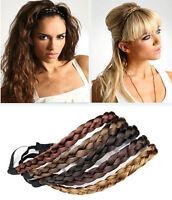 Womens Braided Synthetic Hair Plaited Plait Elastic Headband Hairband Festival