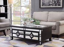 Mirrored Glass Coffee Table 4 Drawers Black Crystal Handle Living Room Furniture
