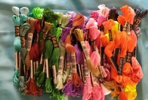 NEW DMC embroidery floss 6-strand cotton lot of 130 skeins 50+ colors