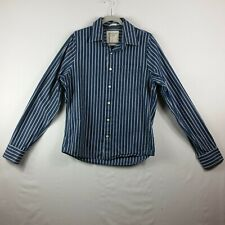 Abercrombie & Finch Mens Large Bold Blue Stripes Long Sleeve Muscle Fit Shirt