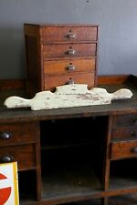Antique primitive wooden mint green mirror crest topper cabinet hutch ornament