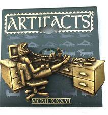 Antique Gold Tone Secretary Vintage Brooch by Jonette Jewelry (JJ)
