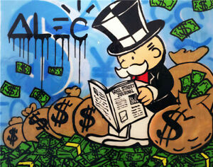VV128 Alec Monopoly Graffiti art oil painting Hand-painted Unframed 36""