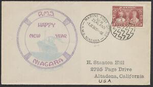 1936 RMS Niagara Happy New Year, Marine Post Office New Zealand, Canada #213