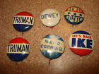 6-LOT1940-50s  Campaign Button  Harry TRUMAN ,ike ,dewey , bricker mead corning
