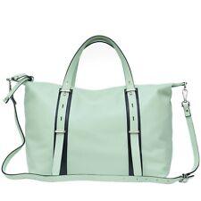 Caterina Lucci Italian Made Pistachio Green Leather Carryall Tote Handbag