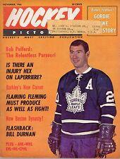 1966 (Nov.) Hockey Pictorial Magazine Bob Pulford, Toronto Maple Leafs ~ Good ML