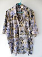 Remus Men's Casual Hawaiian Shirt Blue Tan Shades Size XX Large