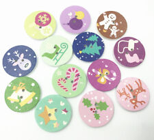 Round Christmas pattern Mixed Wooden buttons 2 holes Sewing Scrapbooking   25mm