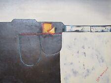 Pintura al Óleo abstracta contemporánea Lienzo moderno Original Crema Blanco Rojo Negro