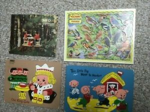 Lot Of 4 70's Vintage Childrens Wooden Puzzles Sifo
