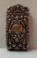 "ANTIQUE STERLING SILVER MATCH BOX VICTORIAN STAMPED DECOR CASE ""G"""
