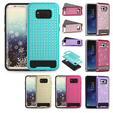 For Samsung Galaxy S8 / S8 PLUS Hybrid IMPACT Diamond Layered Case +Screen Guard