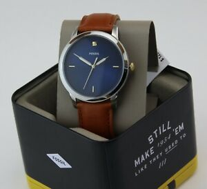 NEW AUTHENTIC FOSSIL THE MINIMALIST BLUE BROWN LEATHER DIAMOND MENS FS5499 WATCH