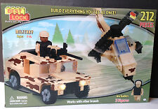 BEST-LOCK 212 PIECE MILITARY SET HELICOPTER, JEEP AND 3 FIGURES ~Clearance Price