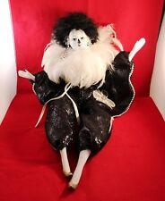 "Very Elegant 16"" Feathered Mardi Gras Doll Animated Music Box & Vintage Chair !"