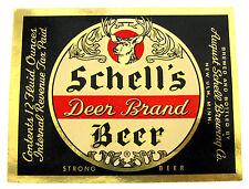 IRTP August Schell SCHELLS DEER BRAND BEER STRONG beer label MN 12oz