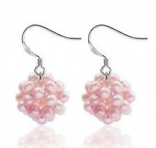 Sterling Silver Pink Pearl Earrings Snowball Design Wire Hooks No Reserve