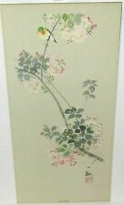 "Japanese ""Autuman"" Bird On A Pink Floral Tree Watercolor Painting Signed"