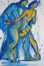 Ilena Biuguniyk Blaues Paar Aquarell auf Papier