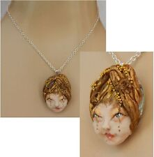 Fairy Face Polymer Clay Necklace Handmade OOAK Jewelry Pendant Women Silver