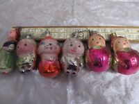 LOT of 6 Vintage USSR Russian Christmas New Year Glass Ornaments