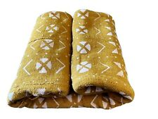 """African Bogolan  Mud Cloth Mustard & White Textile 66"""" By 43"""""""